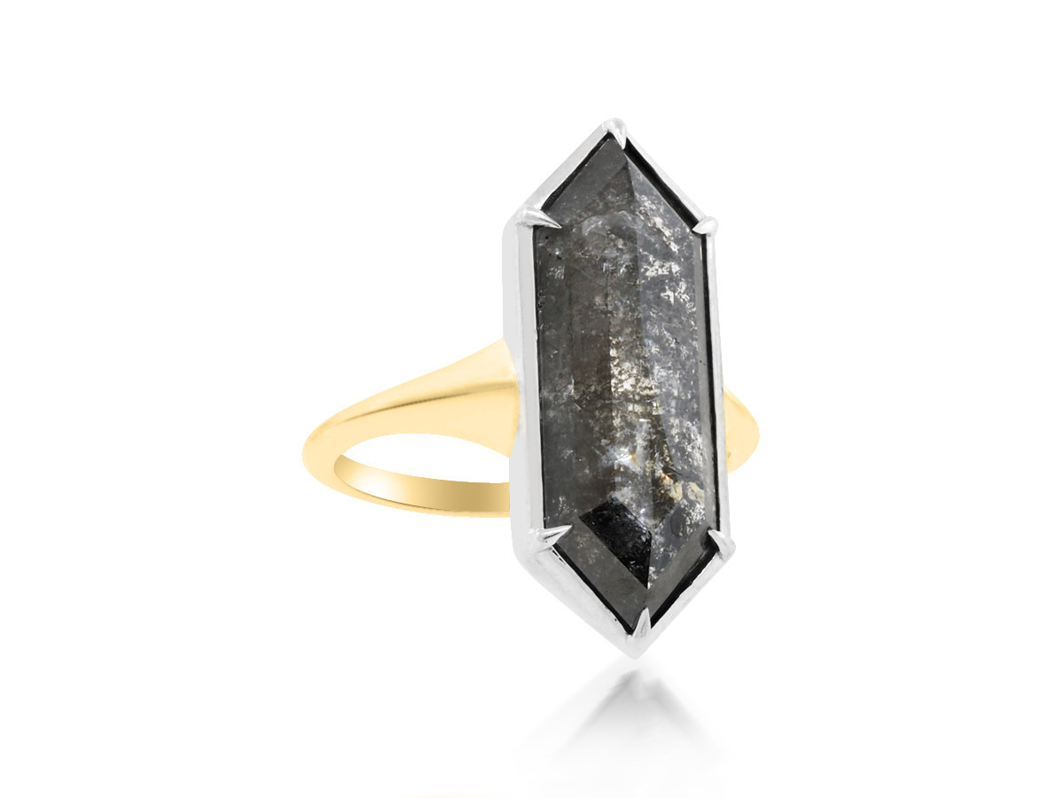 Trabert Goldsmiths 7.08ct Salt & Pepper Diamond Stella Ring