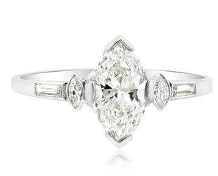 Trabert Goldsmiths 1.02ct FVS2 Vintage Marquise Dia Ring E1604
