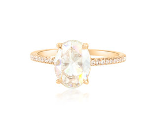 Trabert Goldsmiths 1.71ct IVS1 Oval Rose Cut Dia Polaris Ring E1802