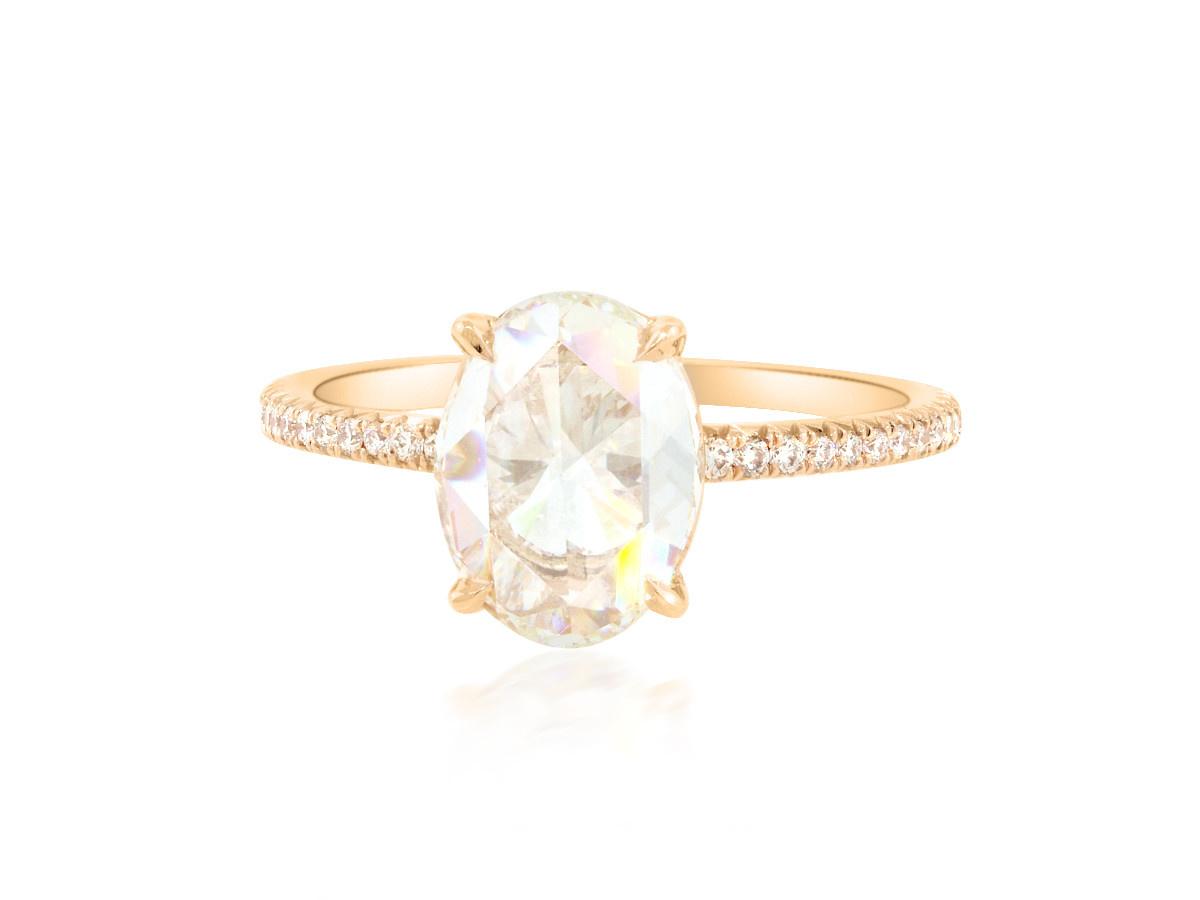 Trabert Goldsmiths 1.71ct IVS1 Oval Rose Cut Diamond Polaris Ring