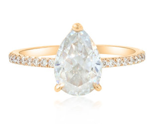 Trabert Goldsmiths 1.81ct Pear Moissanite Aura Ring E1868