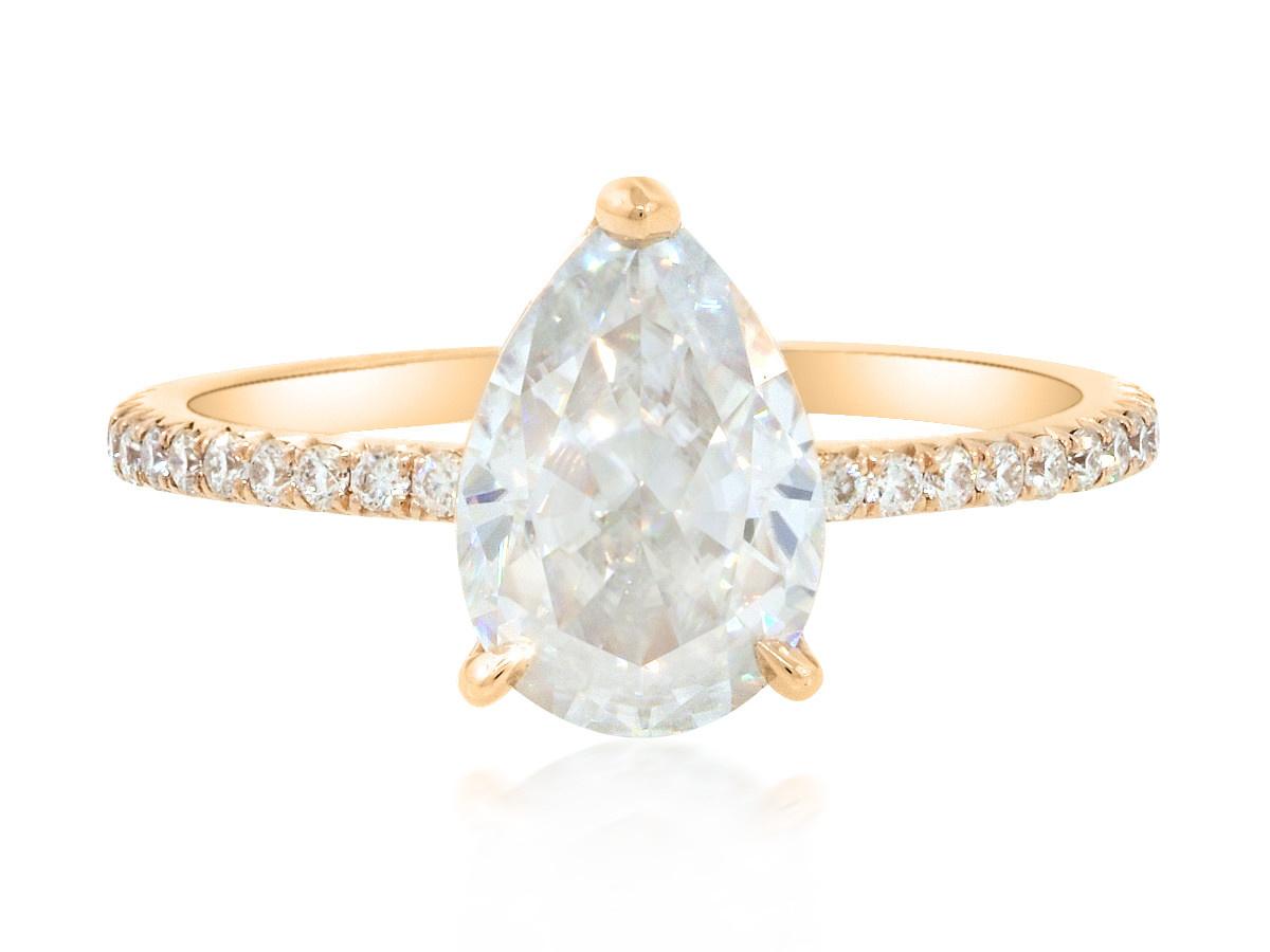 Trabert Goldsmiths 1.81 ct Pear Moissanite Aura Ring