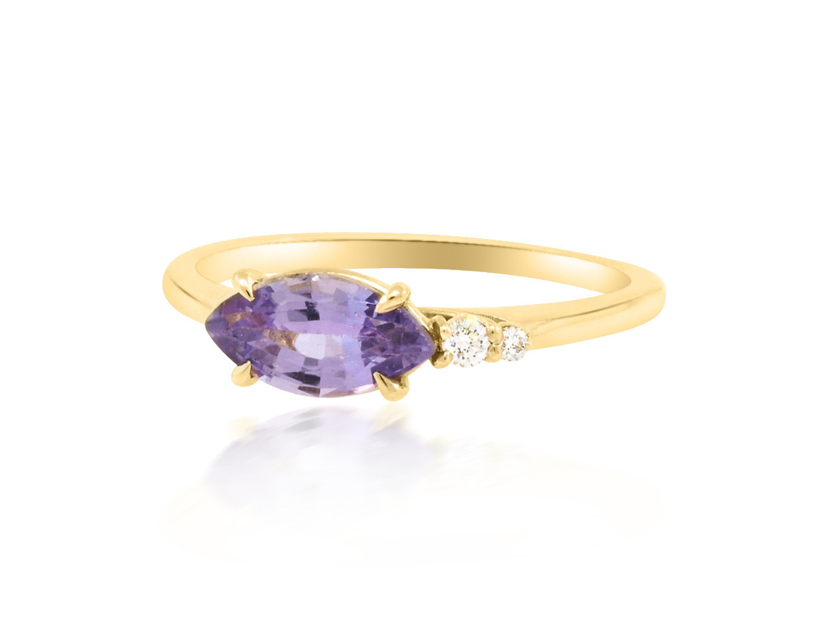 Trabert Goldsmiths 'Iris' Purple Marquise Sapphire Gold Ring