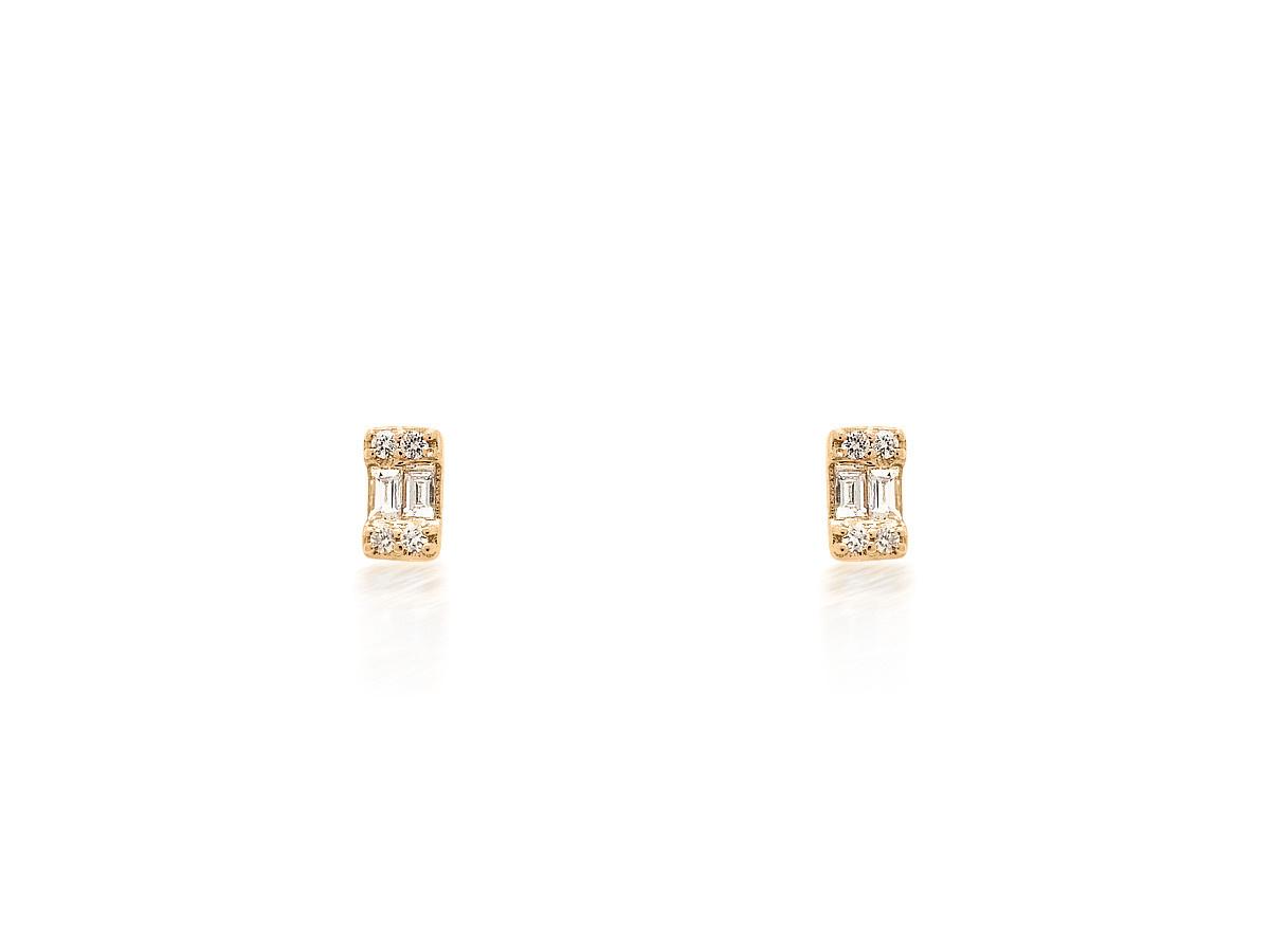 Trabert Goldsmiths Baguette Emerald Shaped Rose Gold Studs