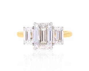 Trabert Goldsmiths 2ct Emerald Cut Moissanite Trinity Ring E2032
