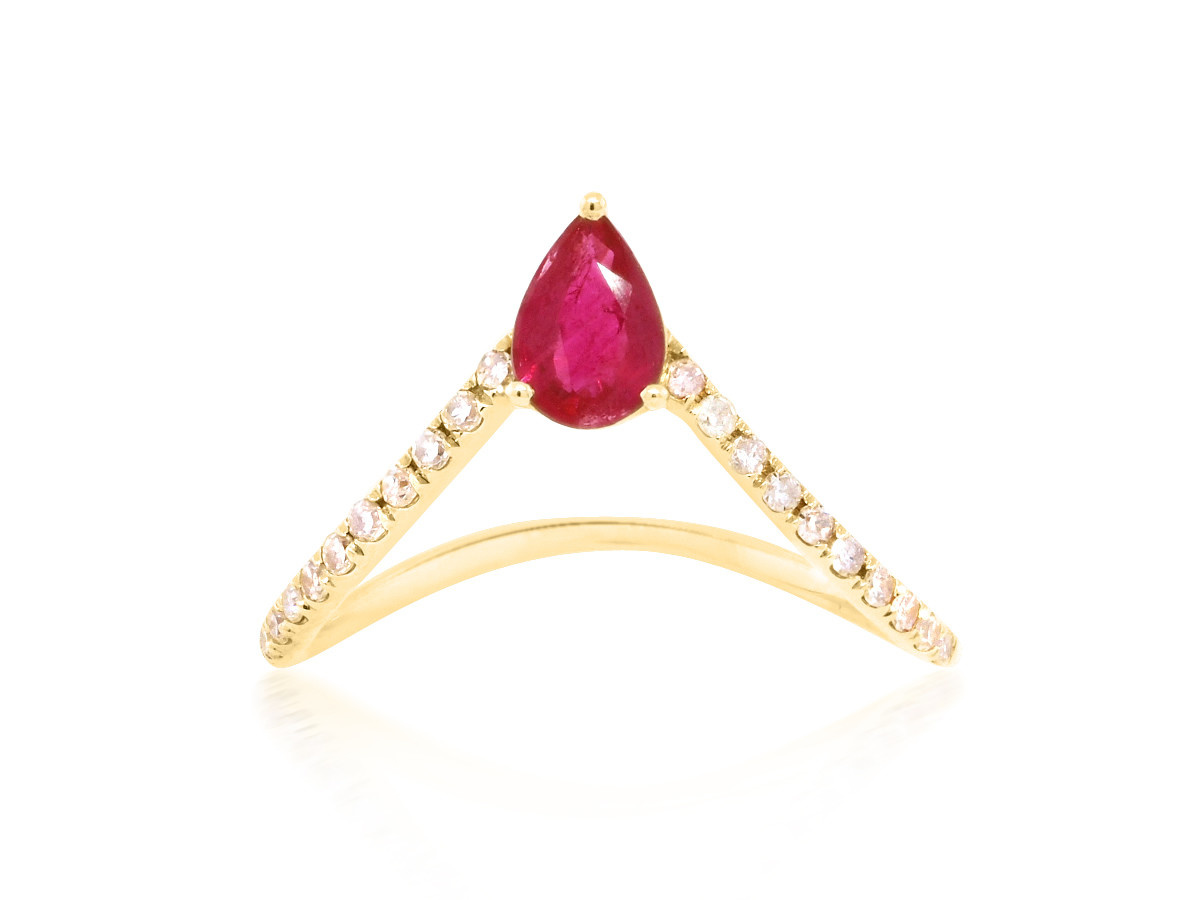 Trabert Goldsmiths Diamond V Shaped Ring with Ruby