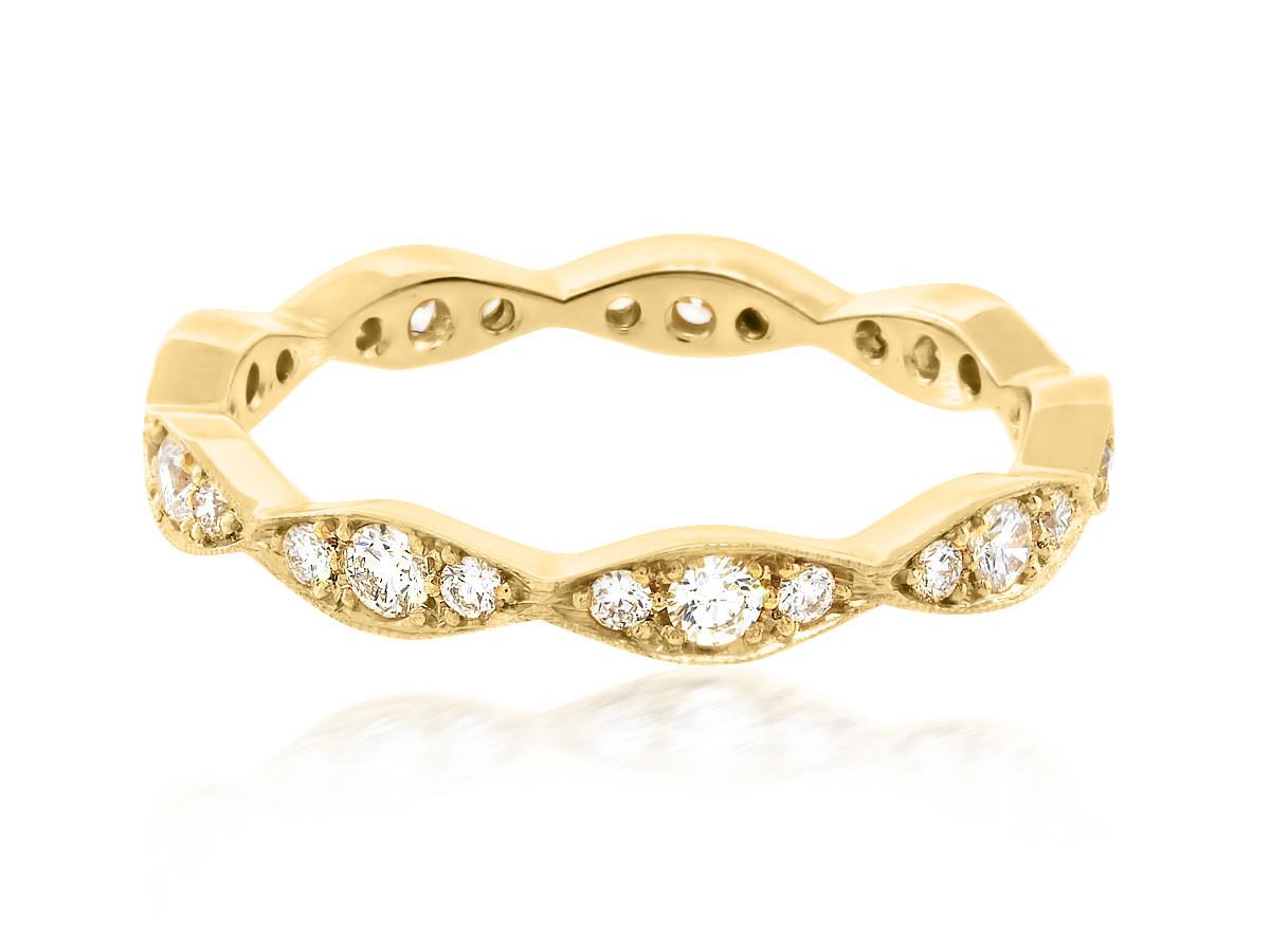Trabert Goldsmiths Scalloped Pave Diamond Gold Band