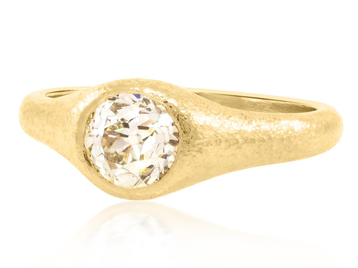 Trabert Goldsmiths 1.12ct Old Mine Cut Diamond Bezel Set Ring