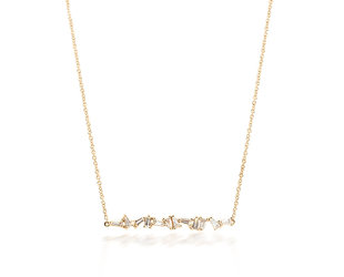 Mixed Baguette Diamond Rose Gold Necklace E2043