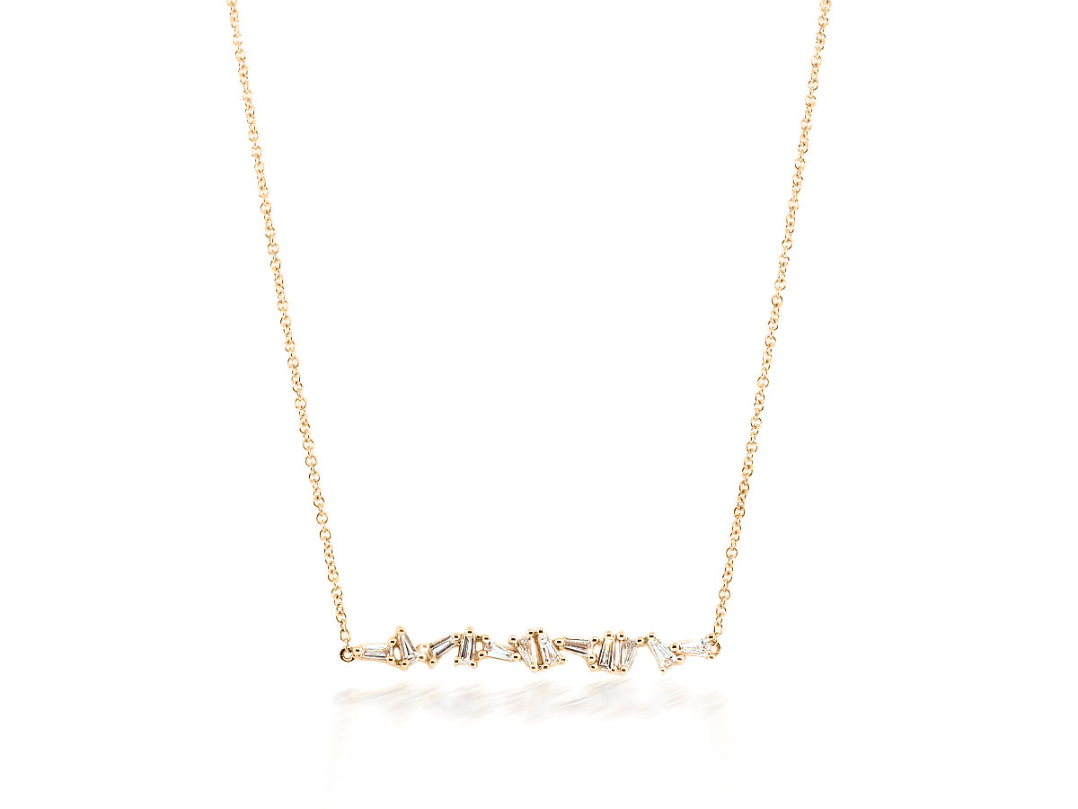 Mixed Baguette Diamond Rose Gold Necklace