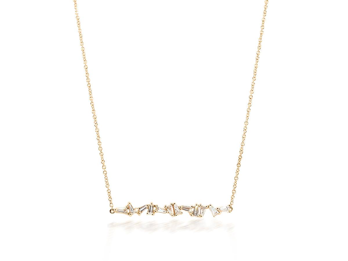 Trabert Goldsmiths Mixed Baguette Diamond Rose Gold Necklace