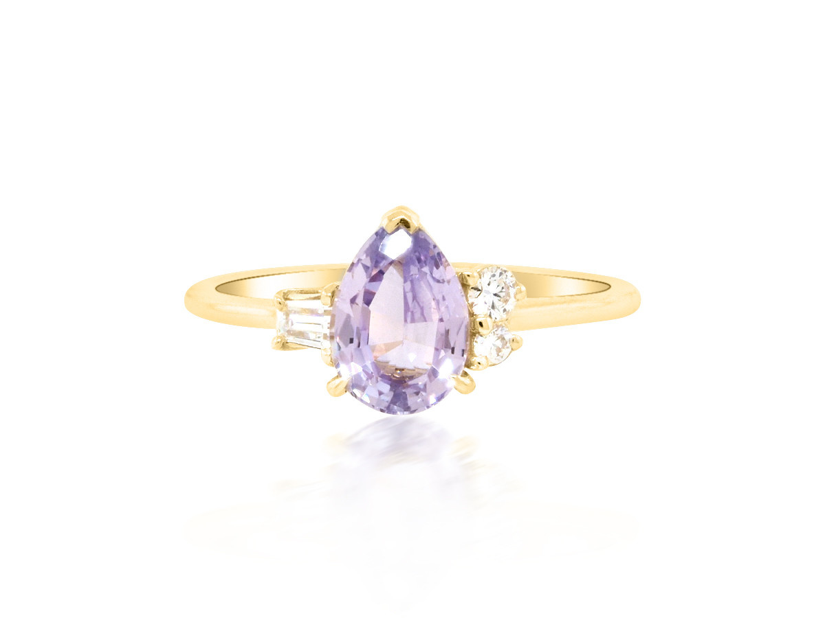 Trabert Goldsmiths 'Violet' Purple Pear Sapphire Yellow Gold Ring