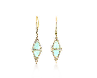 MeiraT Designs Amazonite And Diamond Triangle Drop Earrings MRT1