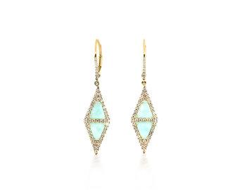MeiraT Designs Amazonite And Diamond Triangle Drop Earrings MRT1