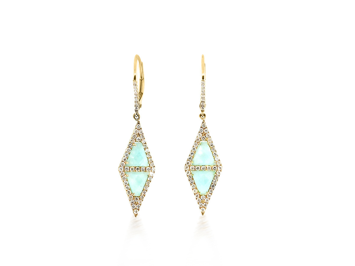 MeiraT Designs Amazonite And Diamond Triangle Drop Earrings