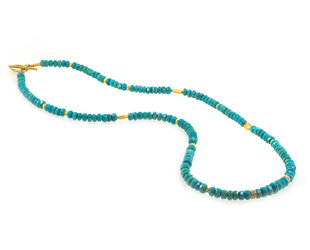 Trabert Goldsmiths Turquoise and Diamond Beaded Necklace E2141