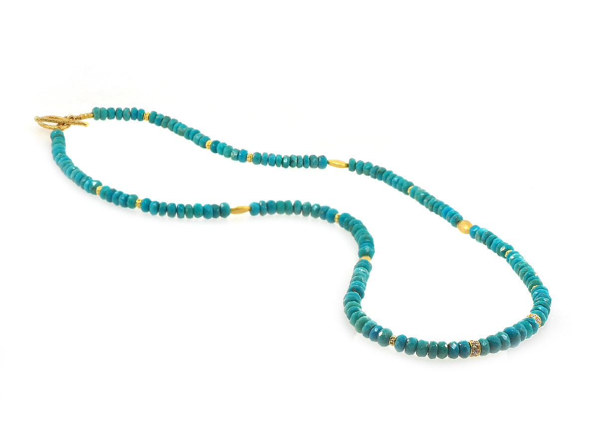 Trabert Goldsmiths Turquoise and Diamond Beaded Necklace