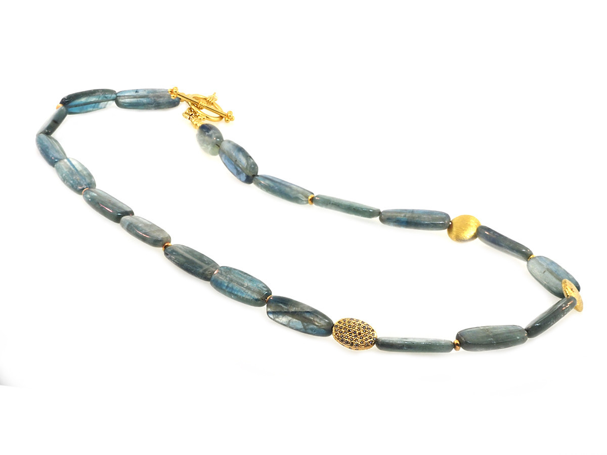 Trabert Goldsmiths Kyanite and Diamond Beaded Necklace