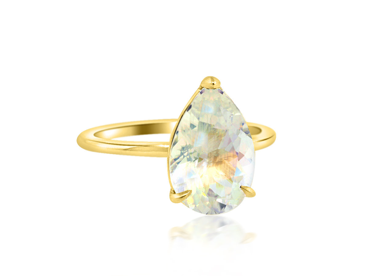 Trabert Goldsmiths 2.12ct Pear Rainbow Moonstone Aura Ring