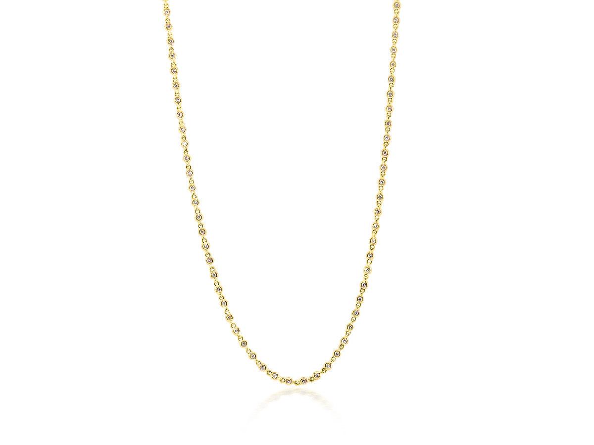 Trabert Goldsmiths Baby Bezel Diamond Gold Necklace