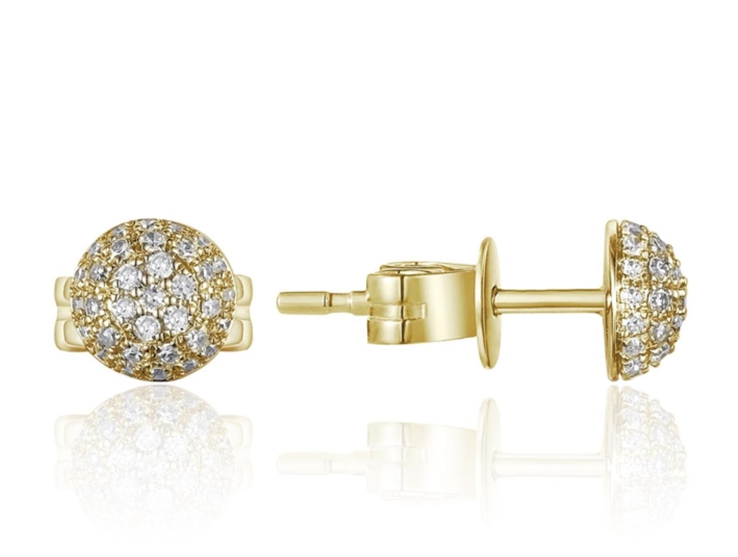 Small Pave Diamond Dome Stud Earrings LV100