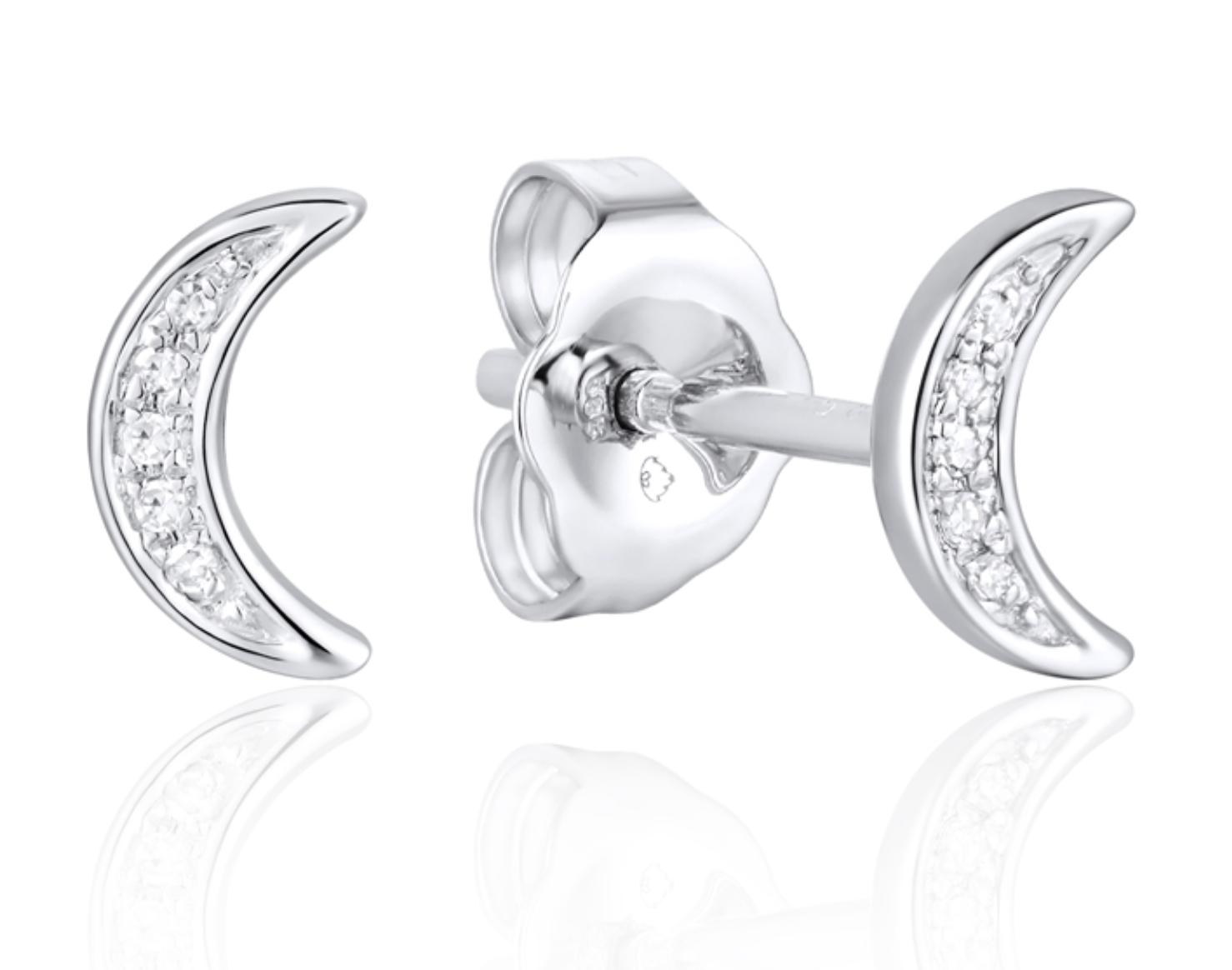 Luvente White Gold Diamond Pave Moon Earring
