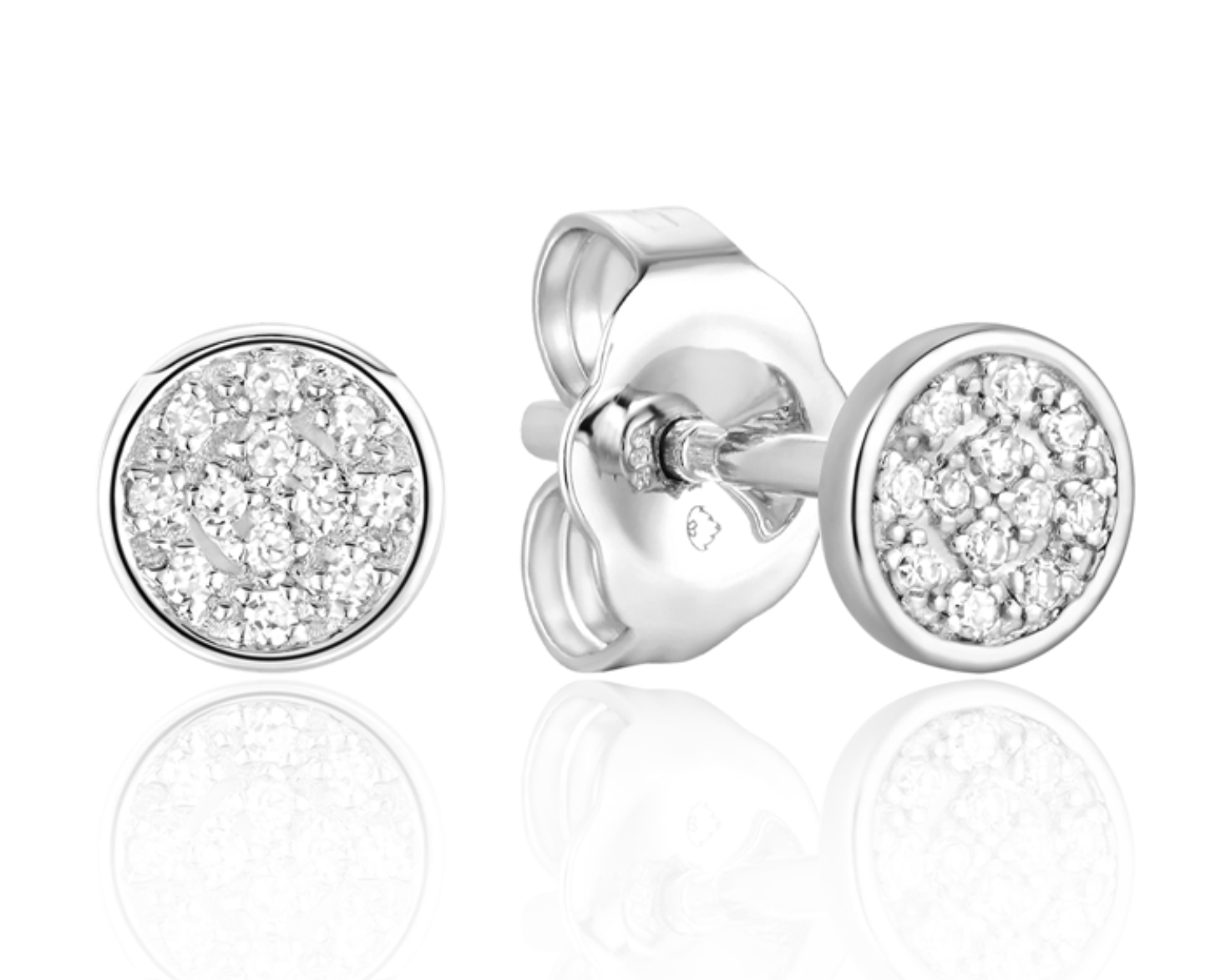 Luvente White Gold Mini Pave Disc Earring