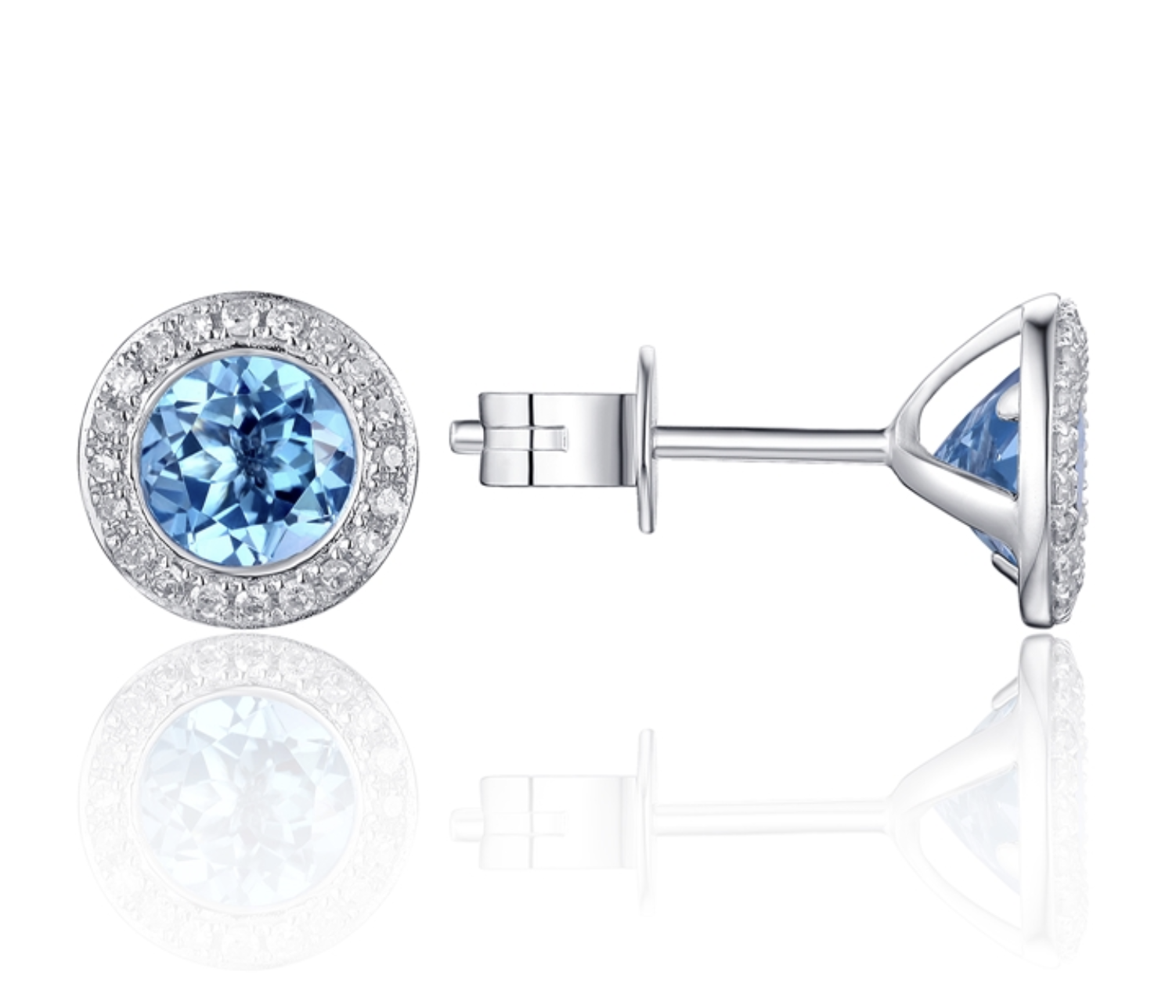 White Gold Diamond Pave & Blue Topaz Earrings