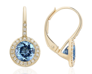 Yellow Gold Diamond Pave & Blue Topaz Earrings LV108