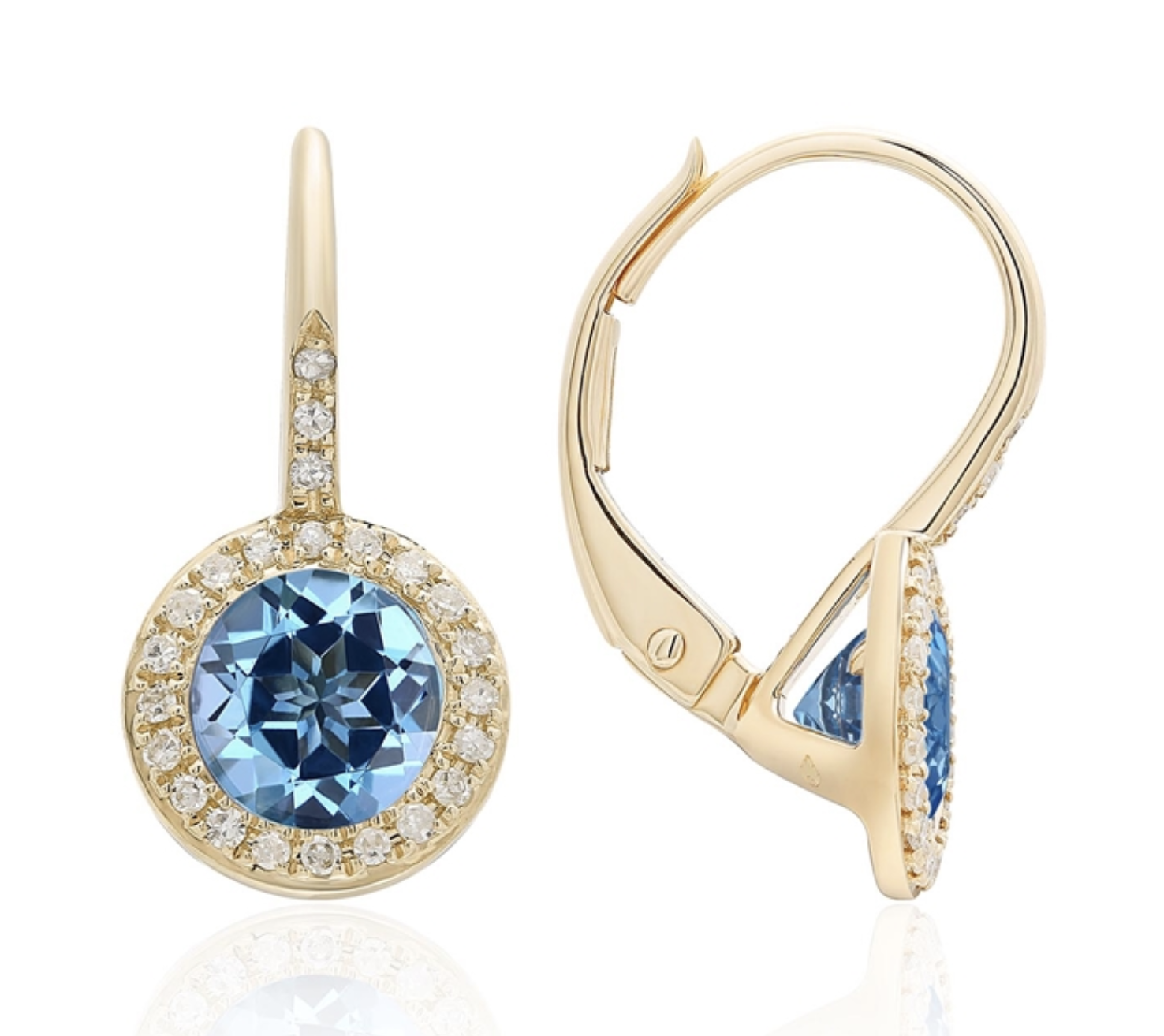 Yellow Gold Diamond Pave & Blue Topaz Earrings