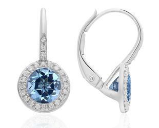 White Gold Diamond Pave & Blue Topaz Earrings LV109