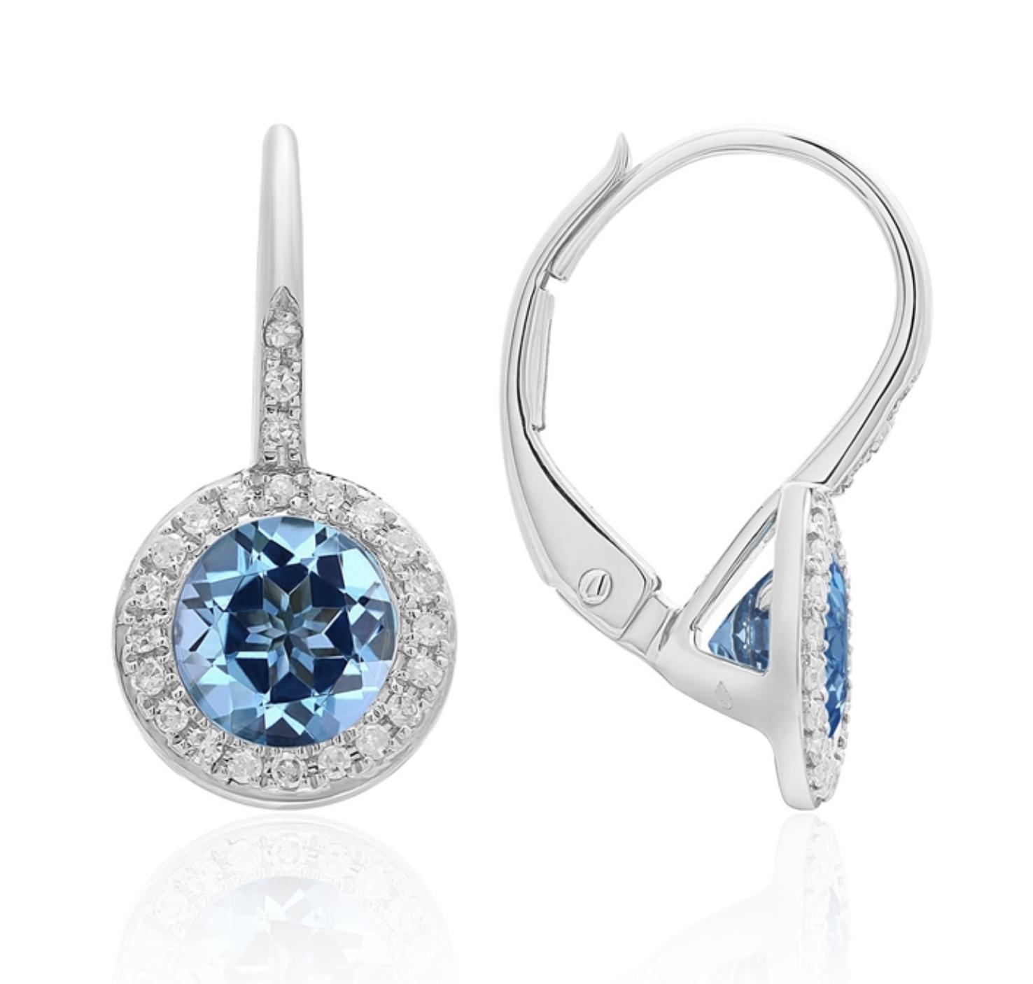 White Gold Diamond Pave & Blue Topaz Earrings