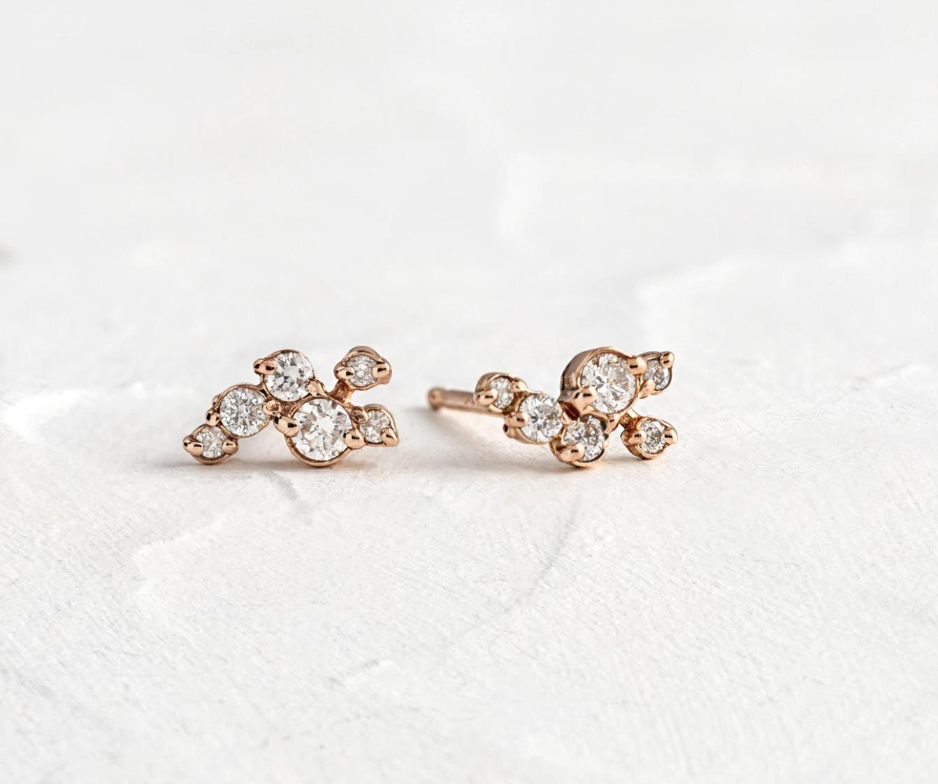 Melanie Casey Clustered Diamond Dusting Rose Gold Studs
