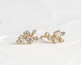 Melanie Casey Clustered Diamond Dusting Yellow Gold Studs ME64