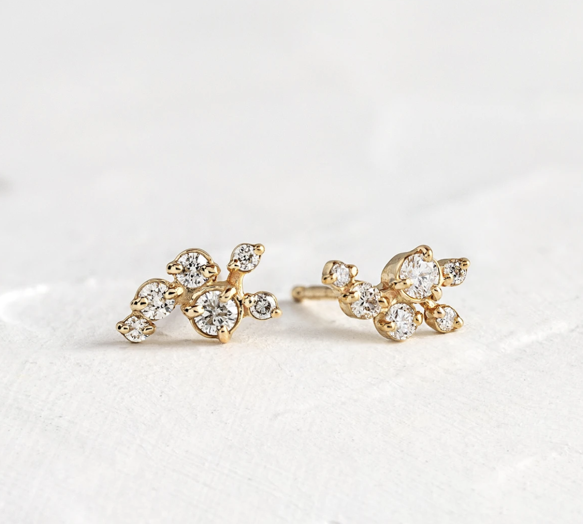 Melanie Casey Clustered Diamond Dusting Gold Studs