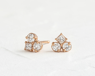 Melanie Casey Mosaic Diamond Cluster Rose Gold Earrings ME21