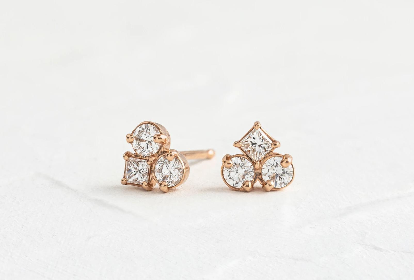 Melanie Casey Mosaic Diamond Cluster Stud Earrings