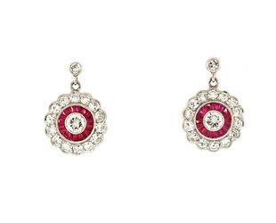 Trabert Goldsmiths Vintage Platinum Ruby & Diamond Pave Earrings GM8