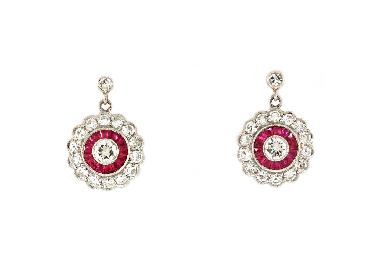 Trabert Goldsmiths Platinum Ruby & Diamond Pave Earrings