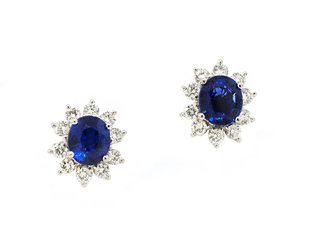 Trabert Goldsmiths Platinum Blue Sapphire & Diamond Pave Earrings GM5