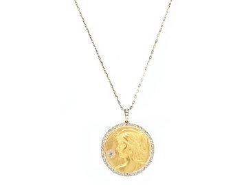 Trabert Goldsmiths Vintage Art Nouveau Diamond Pave Yellow Gold Pendant GM6