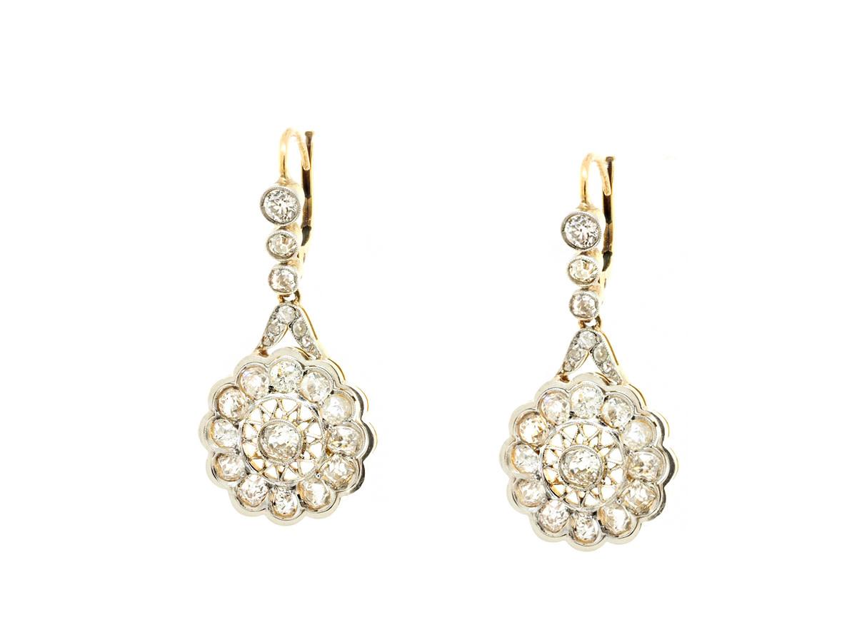 Trabert Goldsmiths Vintage White Gold Diamond Drop Earrings