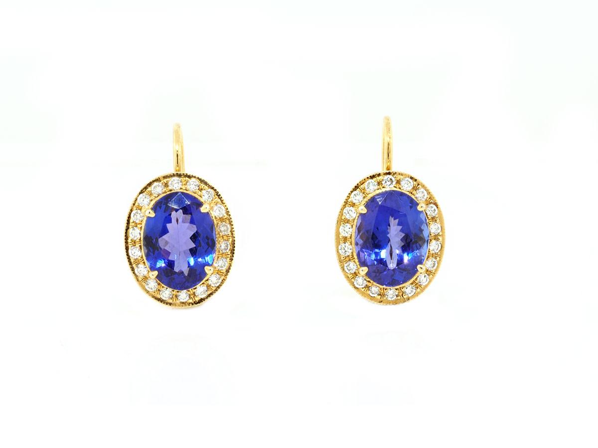 Trabert Goldsmiths Yellow Gold Tanzanite & Diamond Pave Earrings