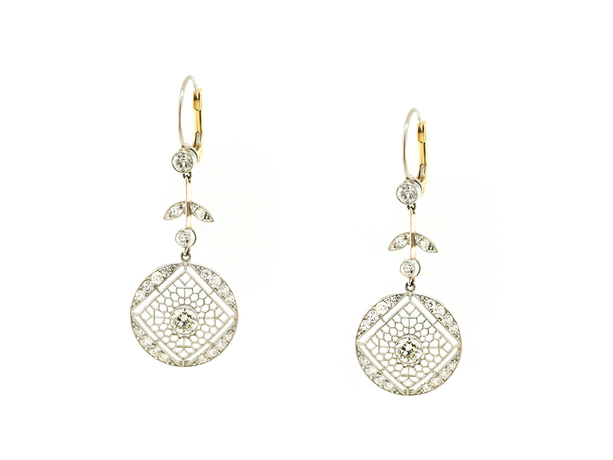 Trabert Goldsmiths Platinum Diamond Drop Earrings