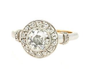 Trabert Goldsmiths Vintage Art Deco Diamond Ring GM11