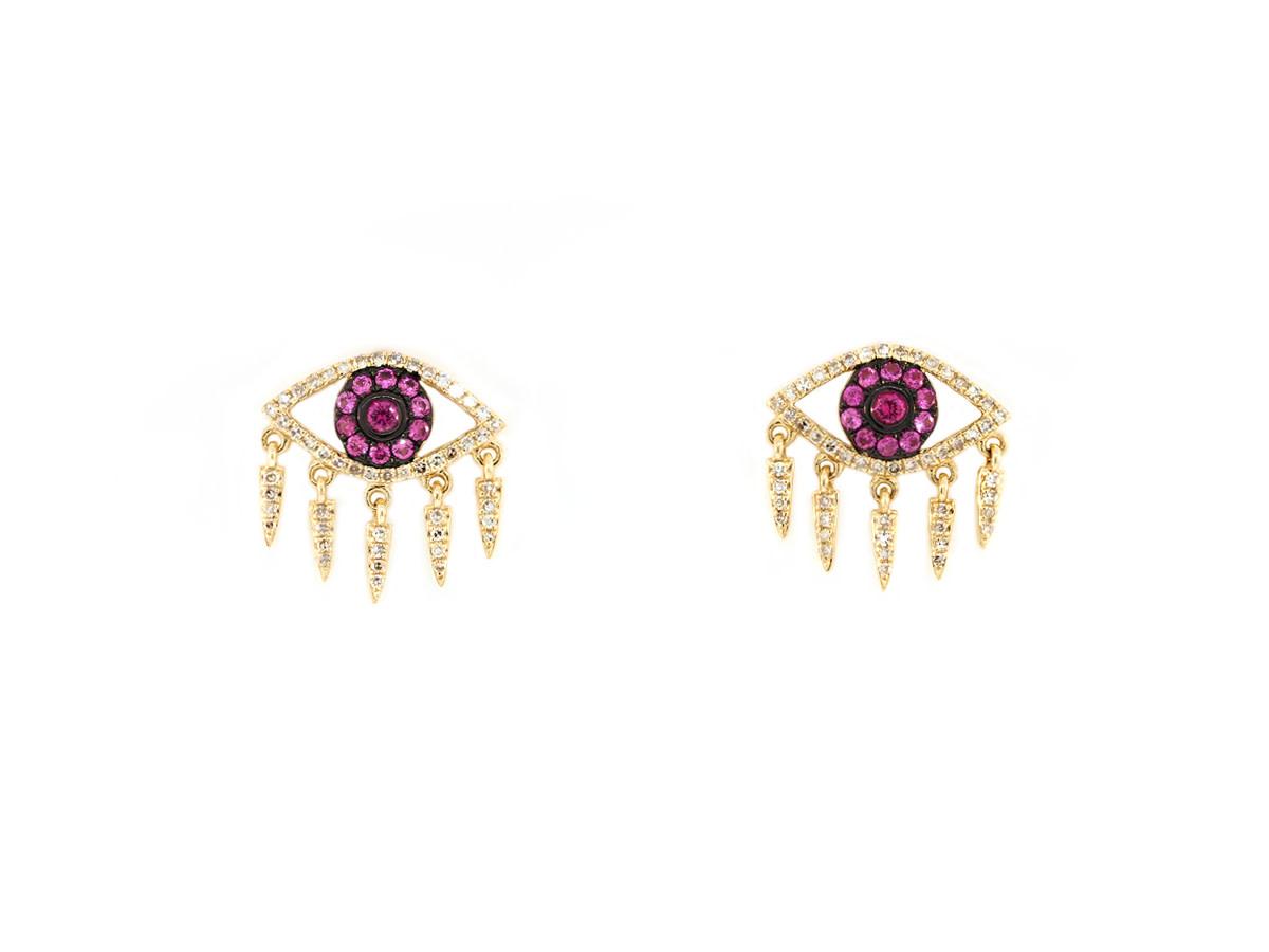 Trabert Goldsmiths Yellow Gold Diamond  & Ruby Eye Earrings