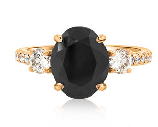 Trabert Goldsmiths 2.75ct Black Oval Diamond Dark Star Ring E2159