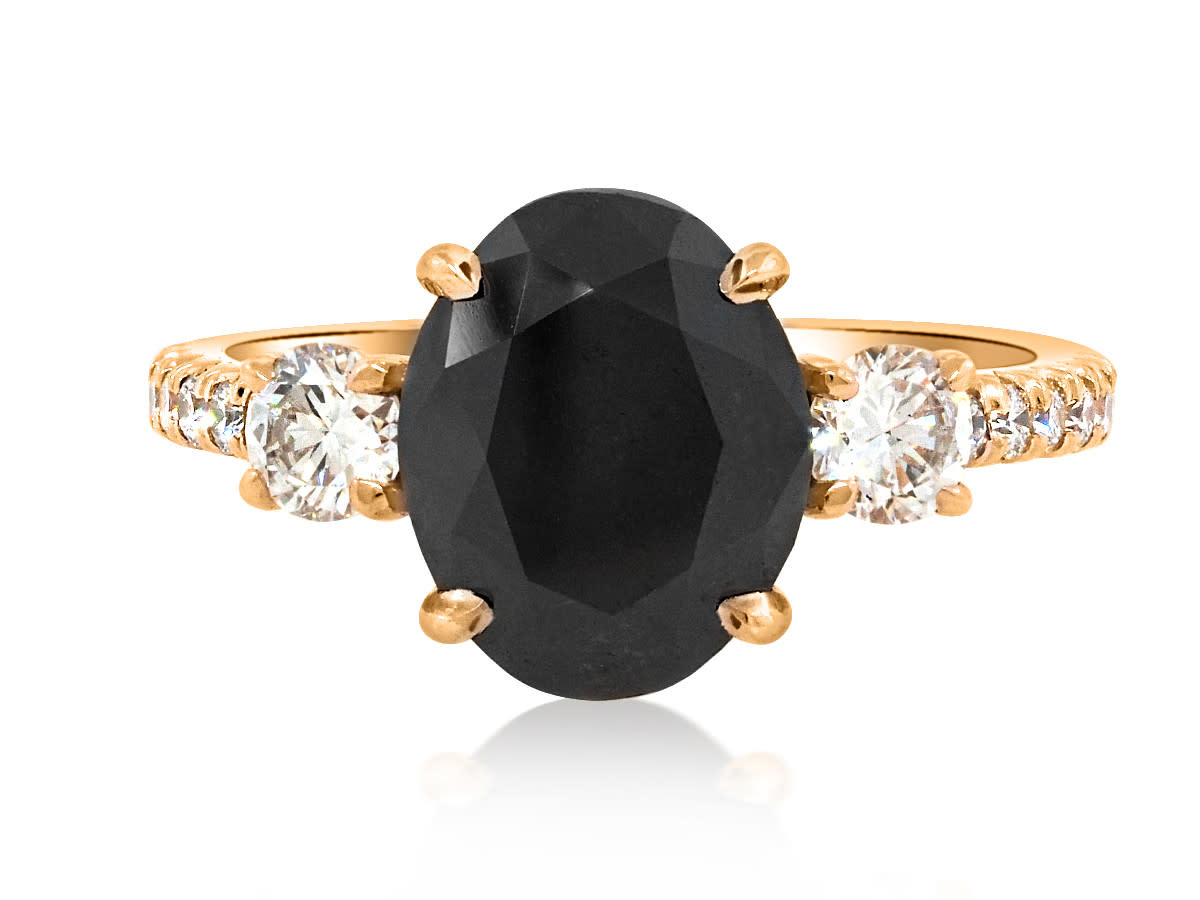 Trabert Goldsmiths 2.75ct Black Oval Diamond Dark Star Ring