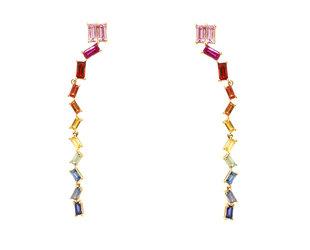Rainbow Sapphire Baguette Drop Earrings DL42
