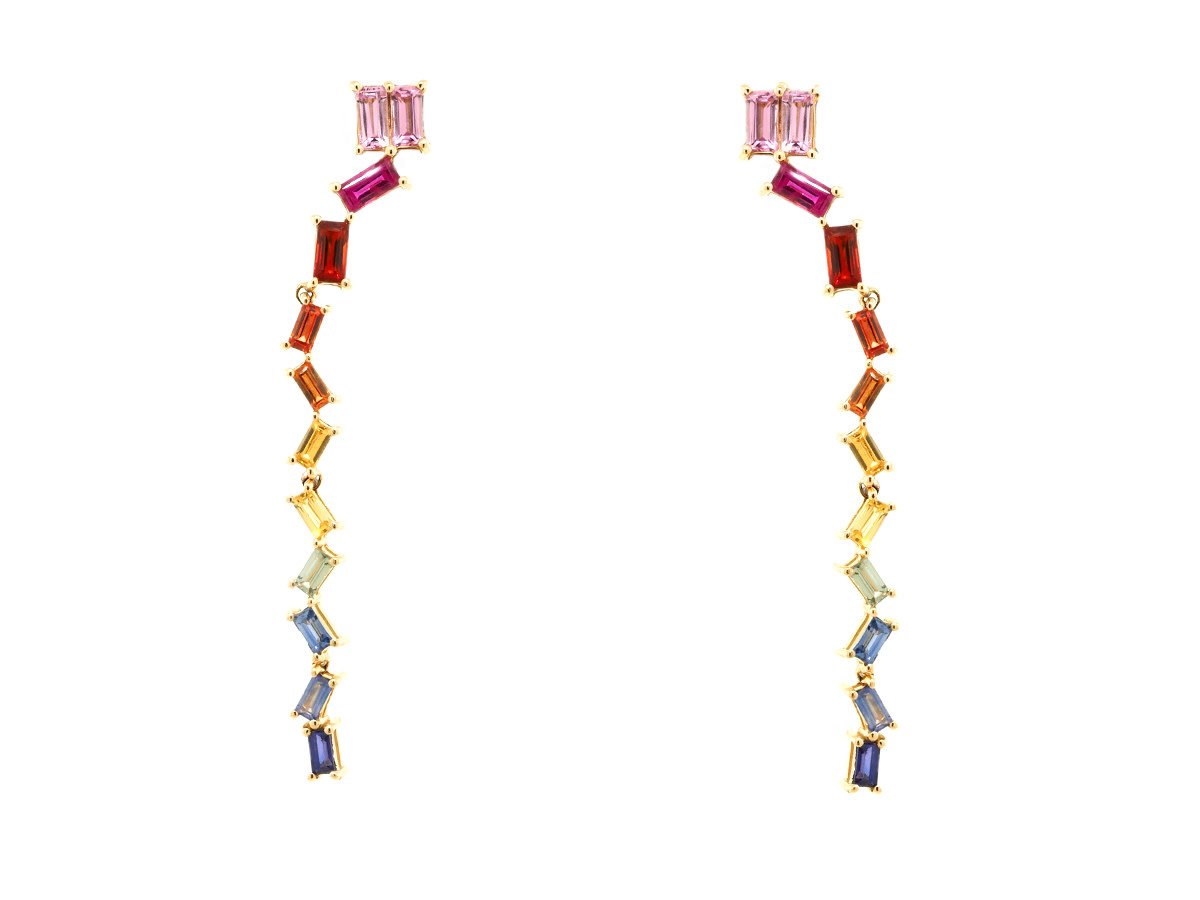 Rainbow Sapphire Baguette Drop Earrings